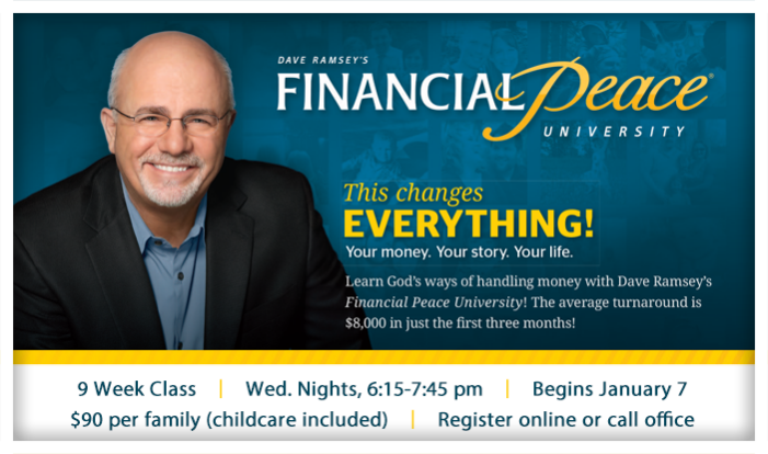 Financial Peace University  - Wednesdays 6:15 PM