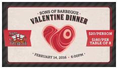 Sons of BBQ Valentine Dinner - Feb 8 2015 6:00 PM